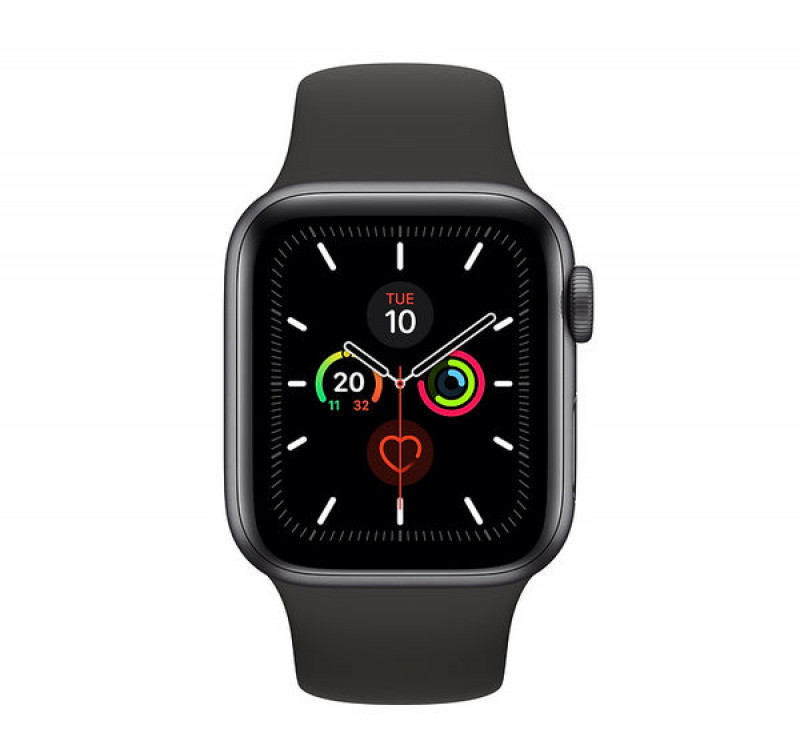 Apple Watch Series 5 GPS, 44mm Space Grey Aluminium Case with Black Sport Band mwvf2hc/a