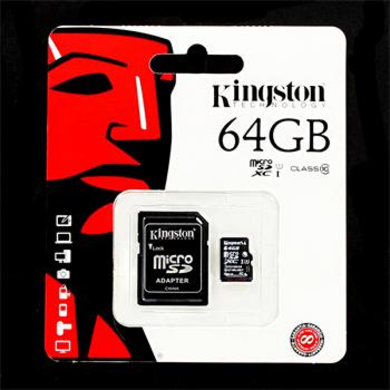 microSDXC 64GB Kingston Class 10 + Adapter  (EU Blister)