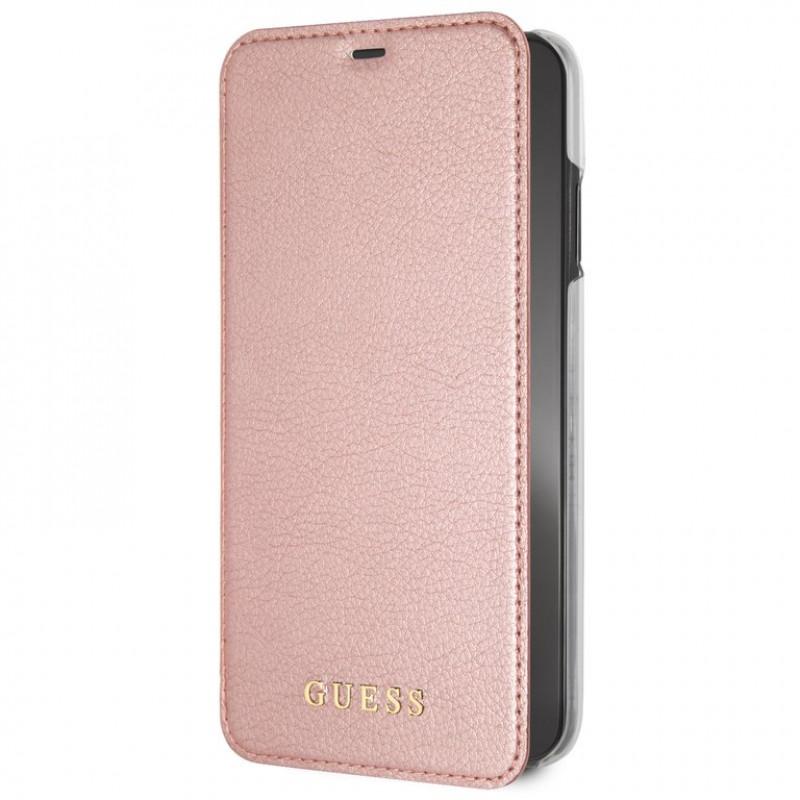 GUFLBKI65IGLRTG Guess PU Leather Book Case Iridescent Rose Gold pro iPhone XS Max