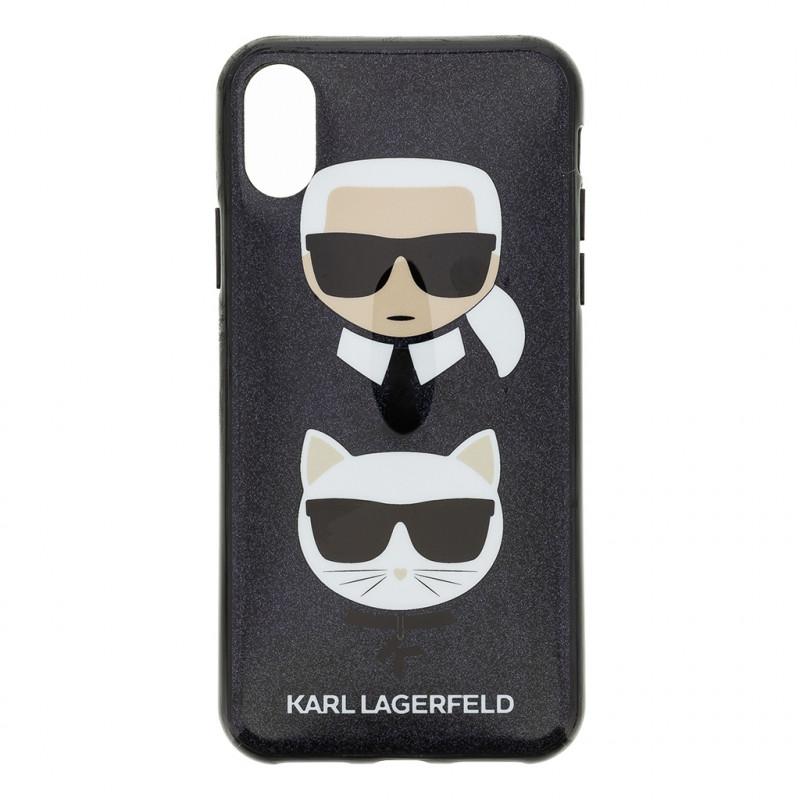 KLHCPXKACHBK Karl Lagerfeld and Choupette TPU Kryt pro iPhone X/XS Black