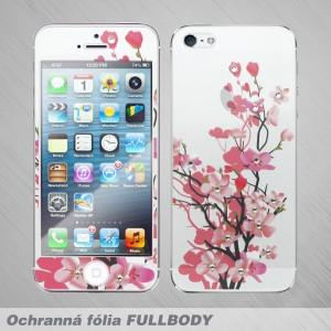 Ochranné sklo celotelové iPhone SE, vzor kvety