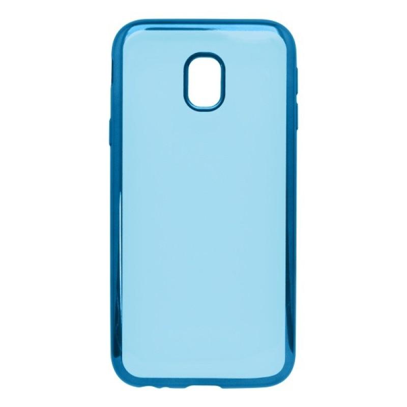 Gumené puzdro Samsung Galaxy J3 2017 priehľadné, modrý rám
