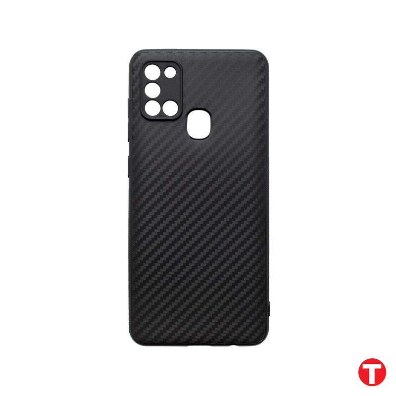 Samsung Galaxy A21S čierne gumené puzdro, Carbon