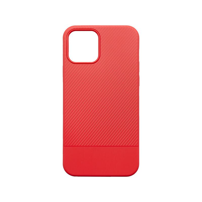 iPhone 12 Pro / iPhone 12 červené gumené puzdro Carbon Line