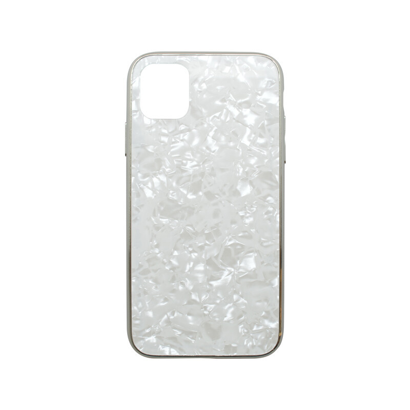 Puzdro Marble Glass iPhone 11 biele